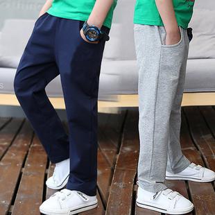 2021春秋薄款男童纯棉运动裤女童中大童儿童男孩宽松长裤蓝色校裤