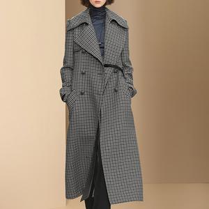双排扣超长格子羊毛呢子大衣女中长款2017秋冬新款加厚毛呢外套