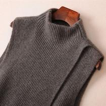 韩版秋冬新款羊绒针织马甲女中长款宽松背心无袖毛衣立领羊毛坎肩