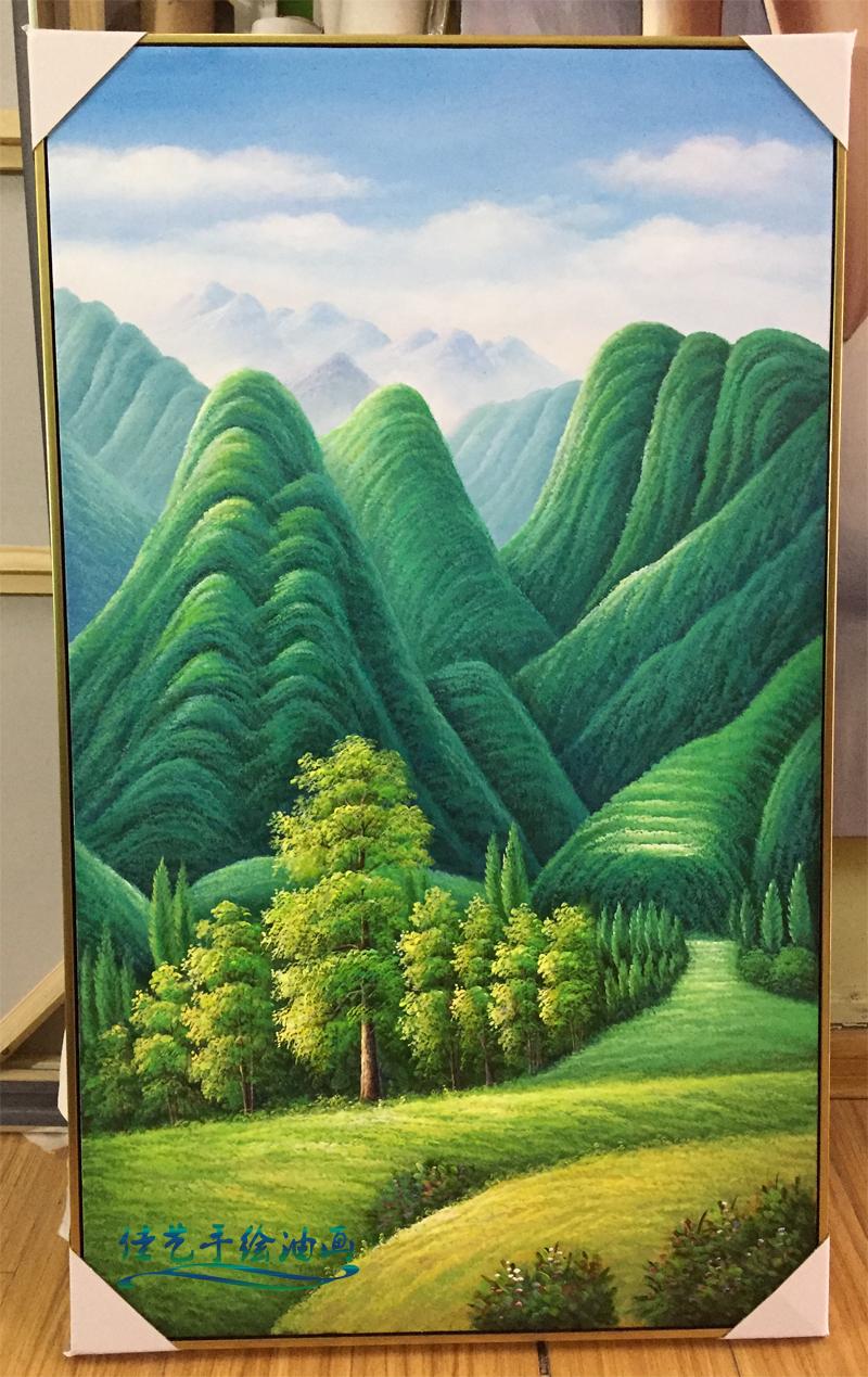促銷純手繪豎版巨人山裝飾畫玄關走廊餐廳掛畫綠樹山林風景油畫