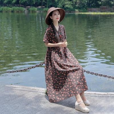 民族风复古V领盘扣小碎花棉麻短袖连衣裙夏季宽松显瘦大摆长裙女