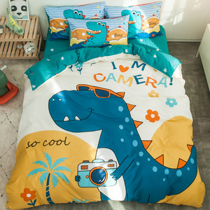 可爱纯棉卡通床上用品四件套床笠全棉男孩儿童床单人被套三件套女