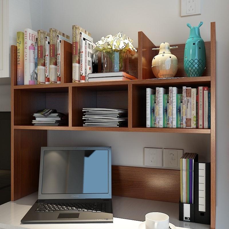 桌面小书架简易宿舍电脑书桌上学生用实木经济型多层收纳架置物架券后95.57元