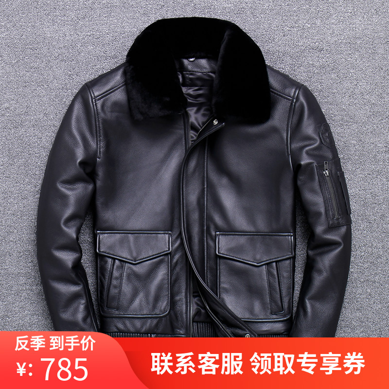 Mens new warm cotton Air Force flight suit wool collar leather leather coat motorcycle leather jacket thickened short coat