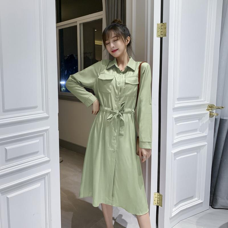 实拍衬衫连衣裙2019新款秋装收腰显瘦超仙森系甜美气质雪纺长裙子