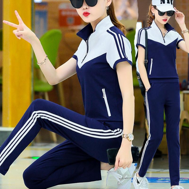10月12日最新优惠休闲运动套装女夏季2019时尚新款服装宽松大码两件套夏天韩版薄款