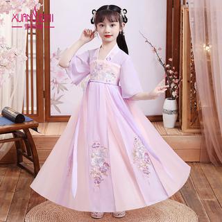 女童汉服夏装2021新款儿童古装超仙女孩裙子大童中国风唐装襦裙夏