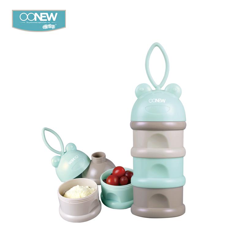 OONEW喔喔牛奶粉盒便攜外出密封罐嬰兒奶粉分裝盒寶寶大容量三層