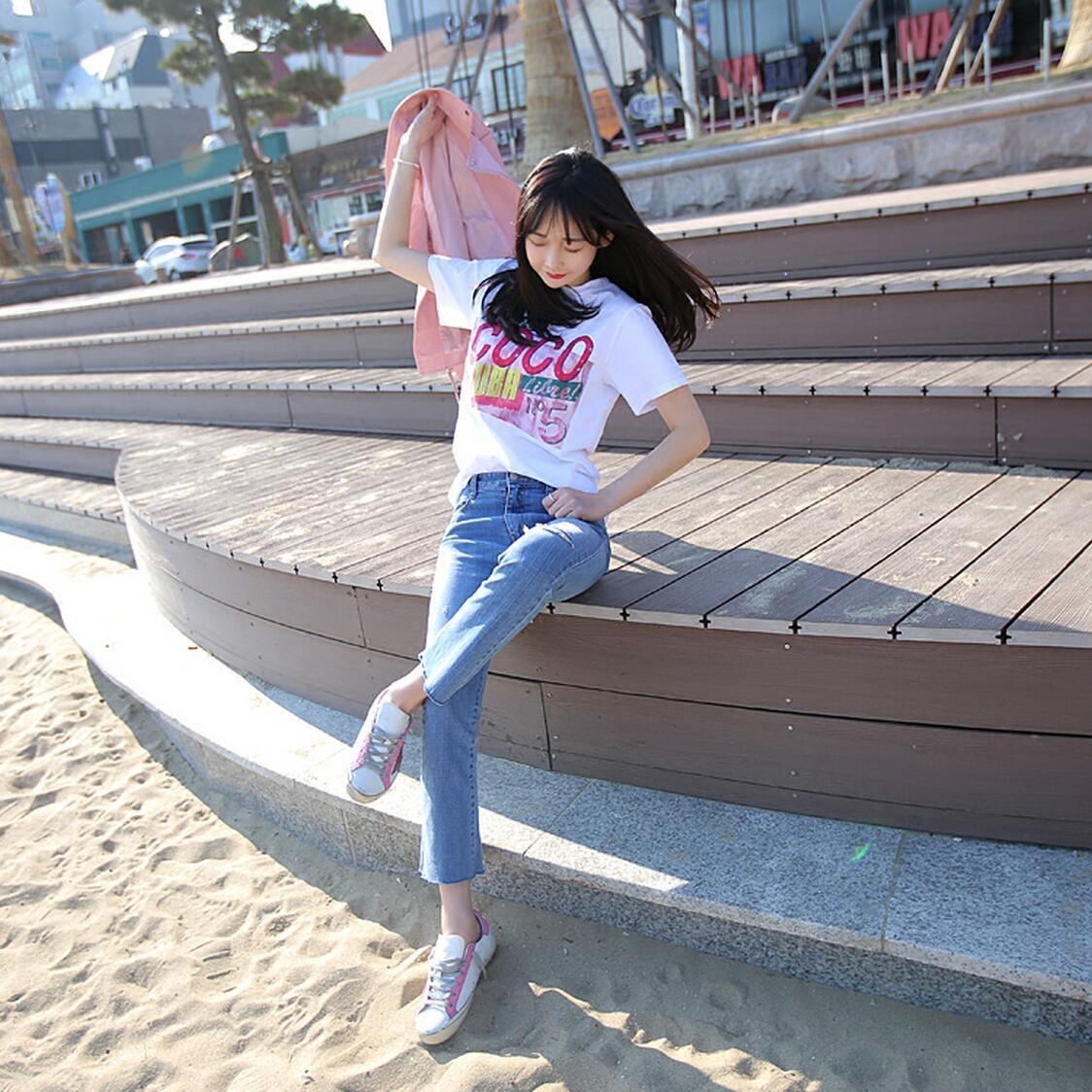 Короткие куртки женщин лето 2017 новой корейской версии джокер сделать рубашку печати небольших хлопковые поля дышать сладкий сладкий колледж t рубашка
