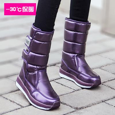 冬季加绒雪地靴女中筒2019新款防水防滑棉鞋高筒加厚底保暖长靴子