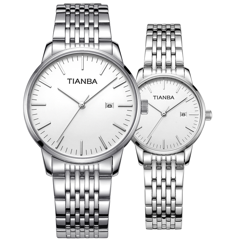 Tianba stainless steel business mens and womens Watch Leather Strap leisure quartz lovers watch 3037