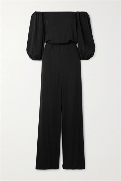 Buy 2020 theory black off shoulder silk crepe womens Jumpsuit