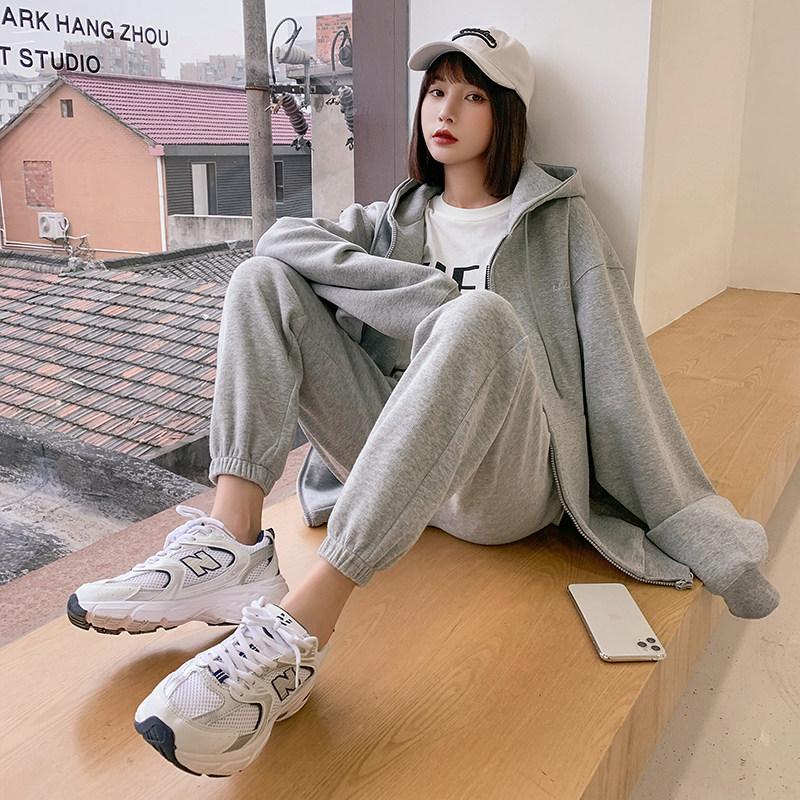2021春新款灰色卫裤子女宽松阔腿裤质量如何