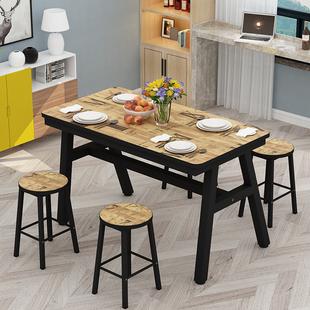 现代家用简易餐桌小吃店长方形快餐4人6人食堂餐厅饭店餐桌椅组合