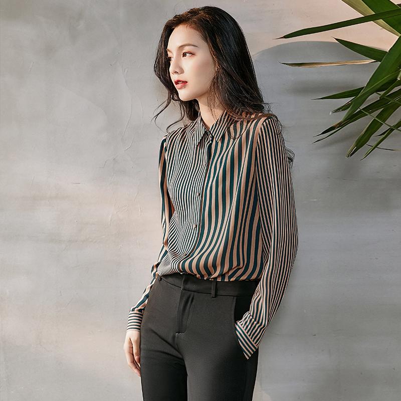 条纹衬衫女长袖2020春装新款韩版宽松雪纺衬衣职业设计感小众上衣