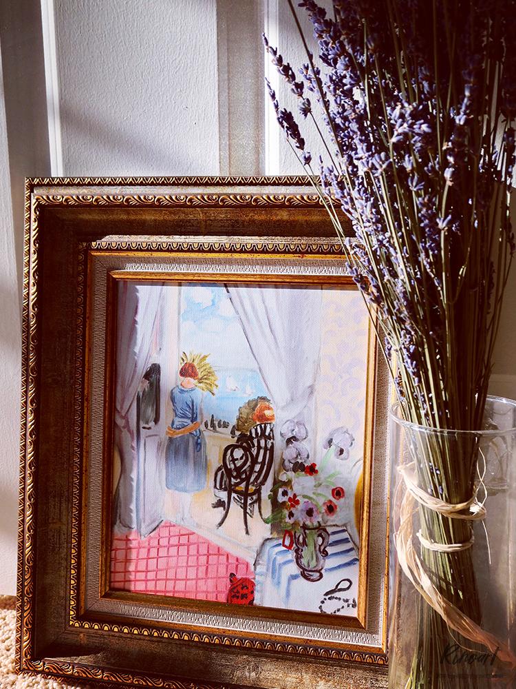 """犀牛艺廊""""淡蓝箩斯""""系列含框卧室书房宁静美式风格小画Matisse"""