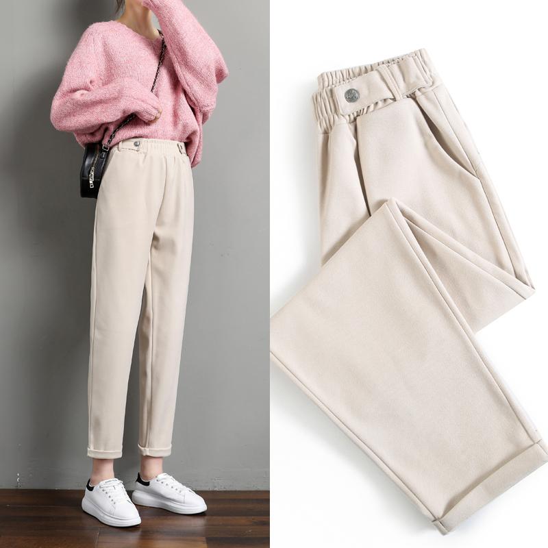 毛呢裤子女秋冬季2021新款显瘦萝卜奶奶裤宽松高腰直筒休闲哈伦裤
