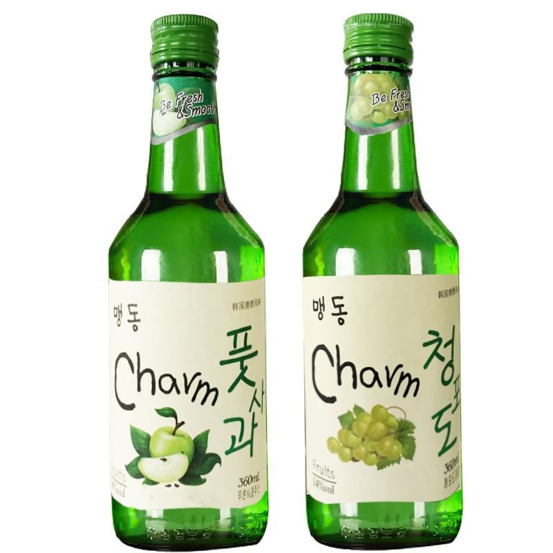 14度萌动韩国清酒烧酒360ML*2瓶青葡萄酒青苹果酒韩剧果味酒
