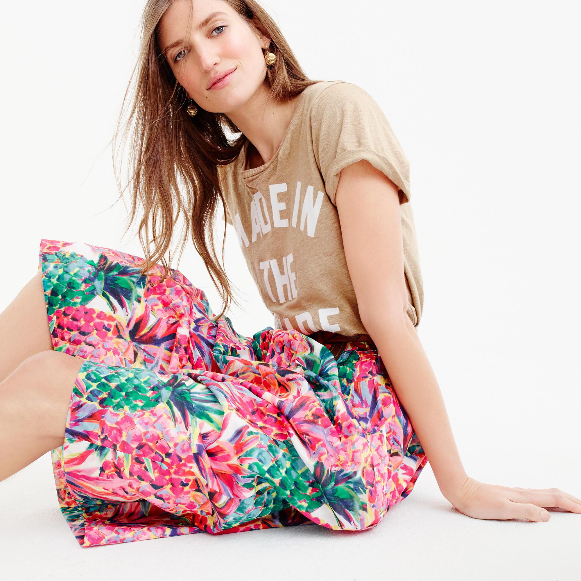 美国代购 j*crew 菠萝印花半身裙 A-line skirt