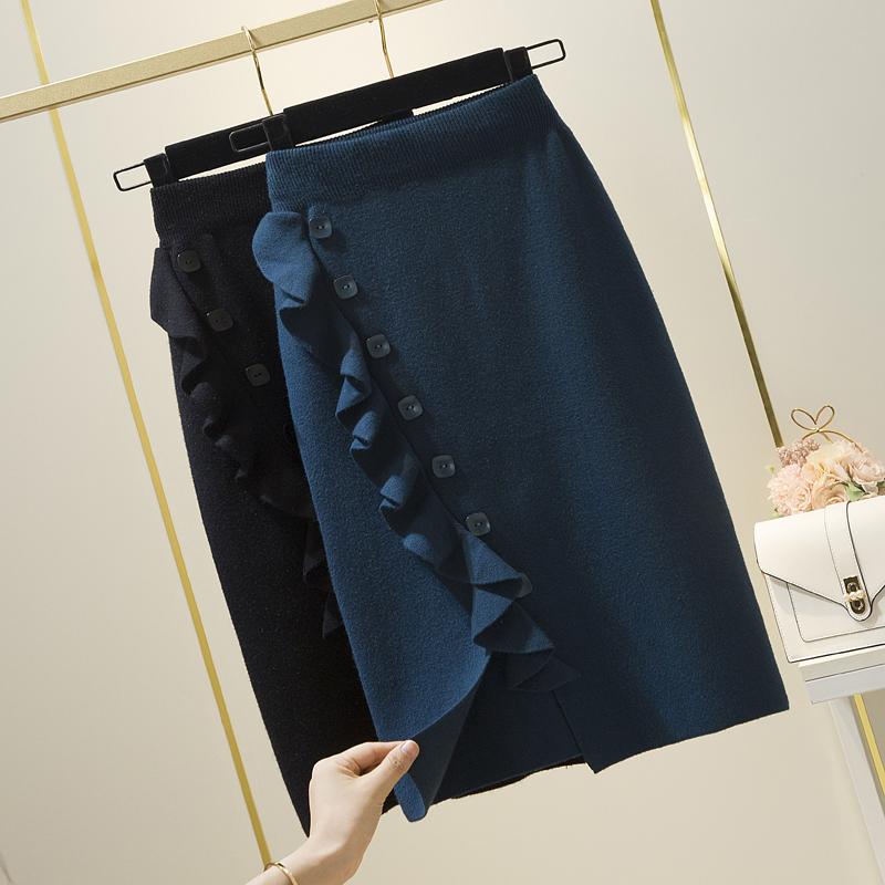 针织半身裙女新款秋冬裙子冬天配毛衣木耳边显瘦包臀单排扣中裙潮