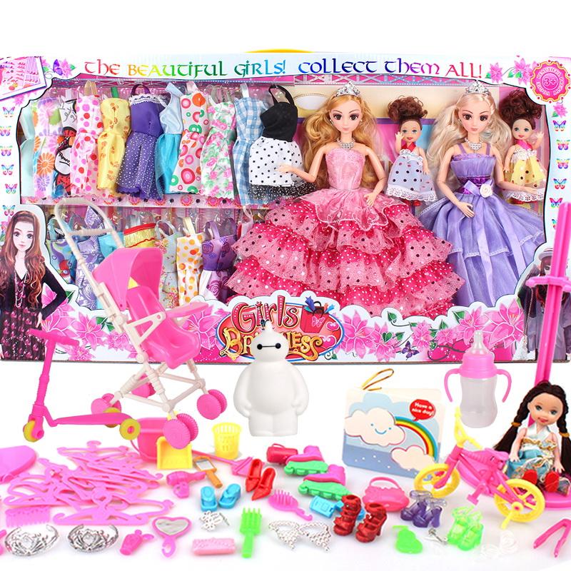 米雪琪3D真眼換裝芭比芘洋娃娃套裝大 公主婚紗女孩玩具兒童