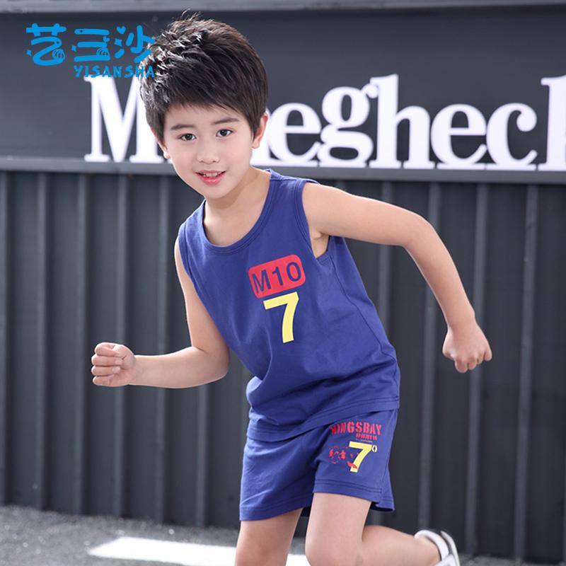 夏季童装儿童运动套装男童夏装2018新款套装男孩帅气潮中大童背心