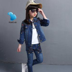 童装男童女童春装套装潮儿童春秋款牛仔三件套中大童外套衣服