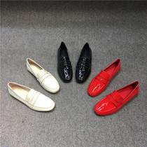 春季新款单鞋女平底圆头低跟漆皮时尚浅口低帮鞋女2019欧洲站女鞋