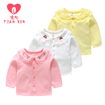 Girls shirt spring and autumn 2019 new baby plus cashmere Air little girl long-sleeved Korean version thickened childrens white shirt