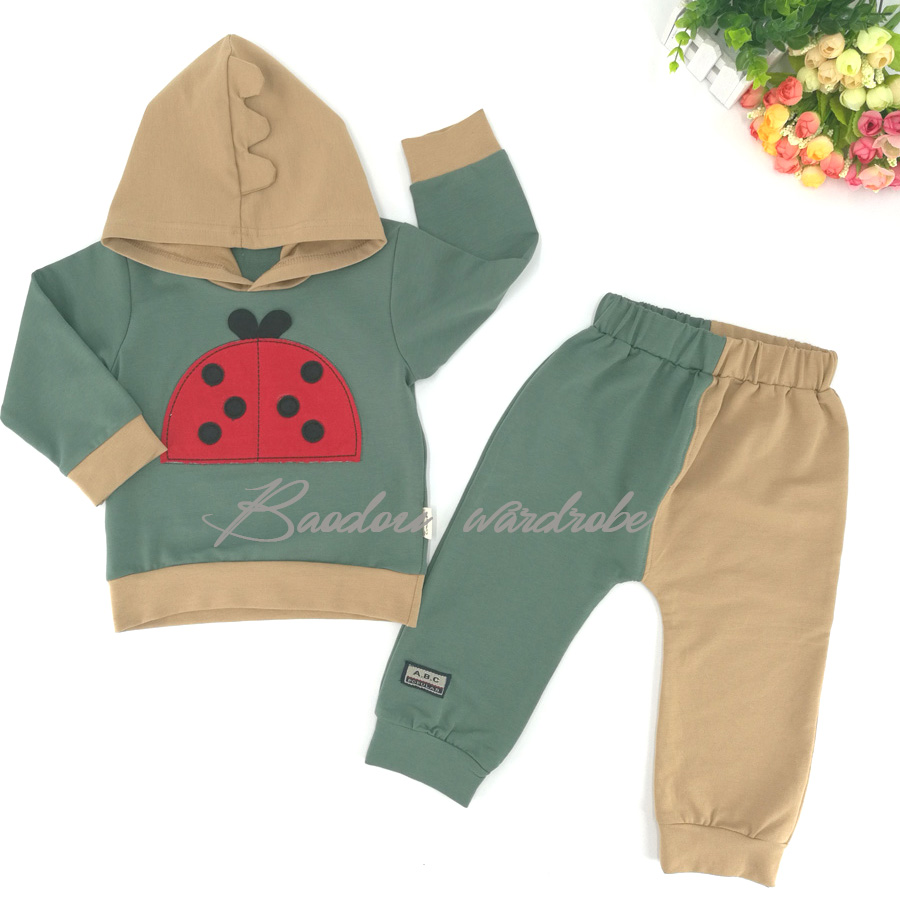 Childrens wear childrens Mandarin Duck pants spring and autumn pants two piece suit pure cotton 1-3 year old boys and girls single teeth single teeth