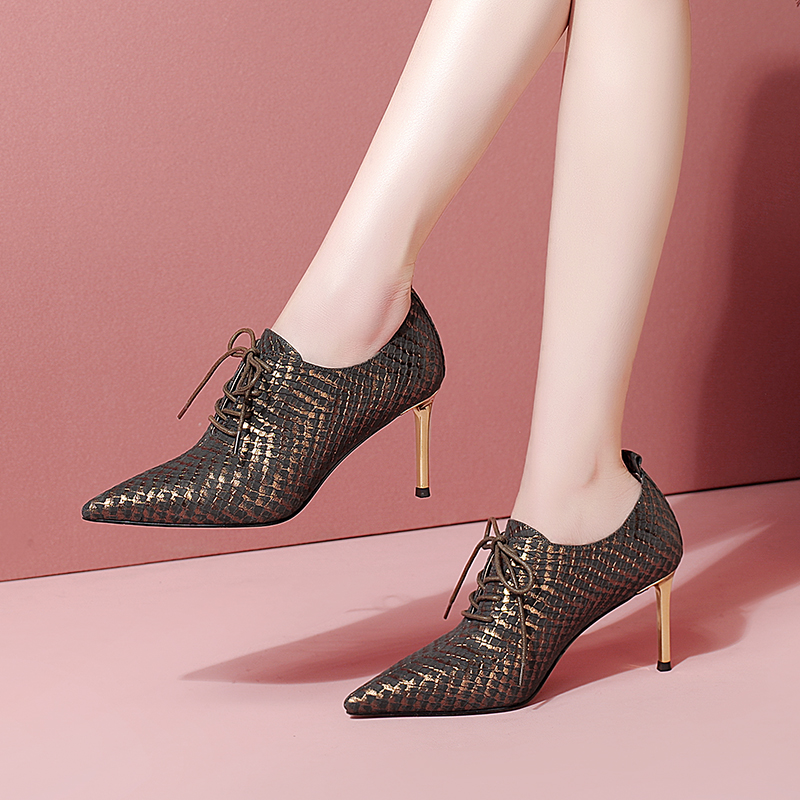 Pointed high heeled shoes thin heel leather versatile deep mouth single shoes cross strapping womens and ankle boots fashion womens shoes