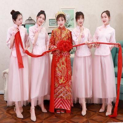 中式伴娘服粉色2020新款姐妹裙中国风伴娘团晚礼服复古春夏长款女