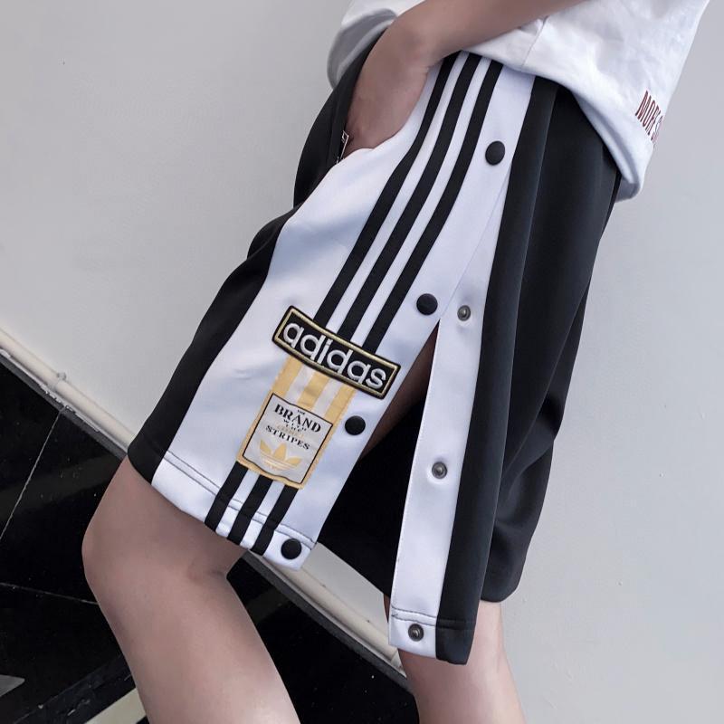 2021夏季男女情侣新款条纹排扣阔腿直筒百搭运动休闲短裤宽松潮流