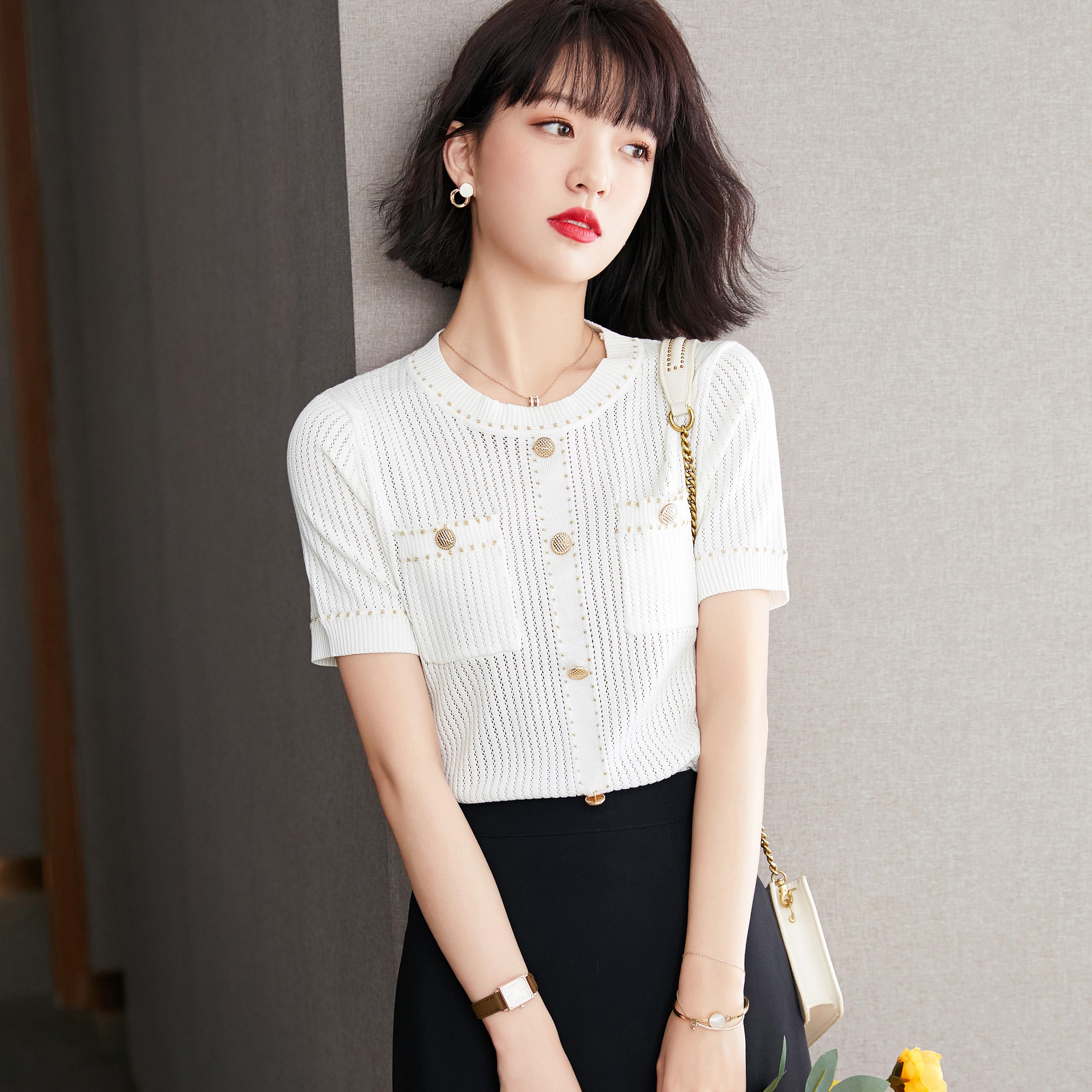 2021夏装新款时尚百搭针织衫女设计感简约针织上衣ZNSI1859P45K75,针织衫/毛衣,贞妮丝