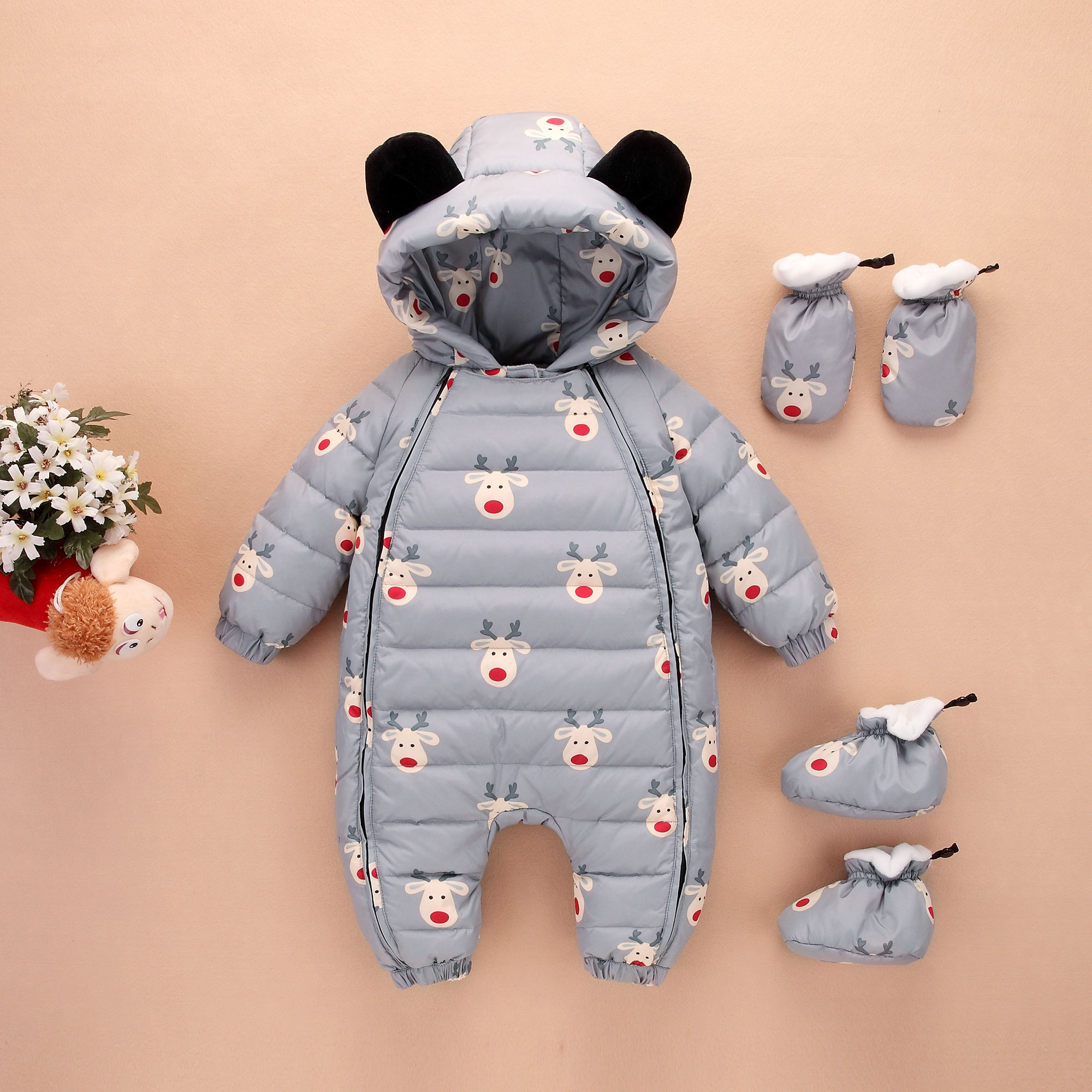 Новорожденных купальник одежда утолщенные внешний из одежда мальчиков и девочек, ребенок ползунки зимний сохраняющий тепло ребенок куртка
