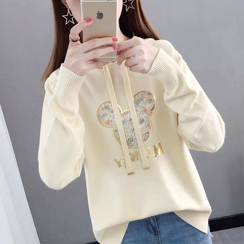Knitwear womens sweater trend DF loose top womens westernization spring and autumn thin new hooded cartoon Mickey set