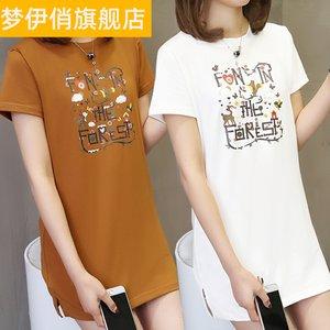 夏天短袖T恤丅血体桖中长款长衫长装女装胖妹胖妞上衣服2020胖人