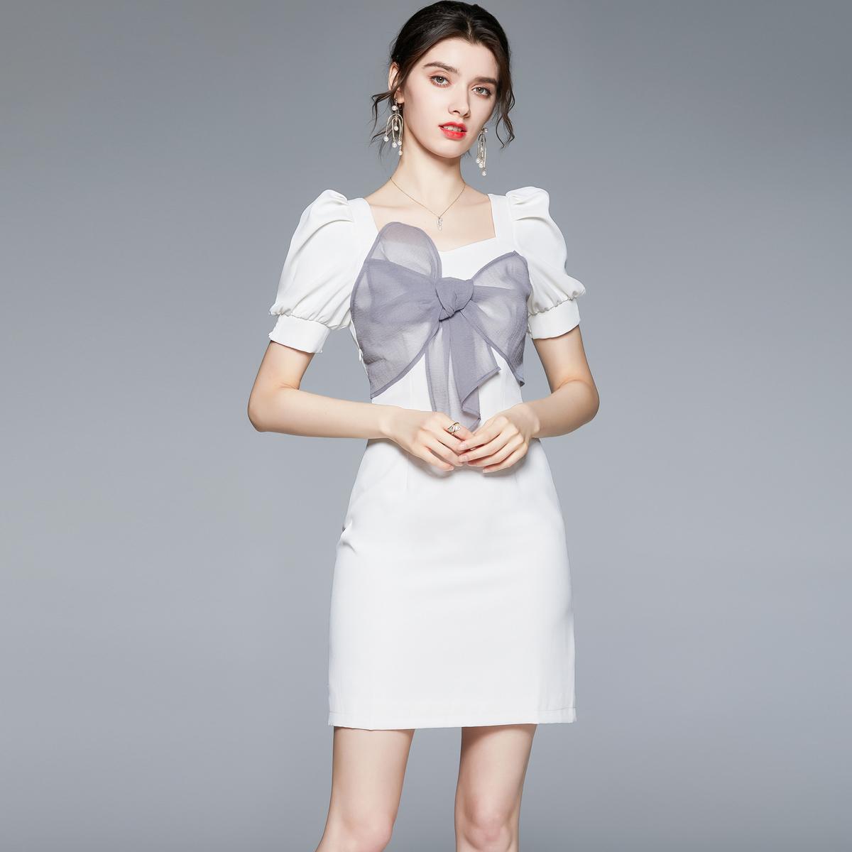 2021夏季新款女装蝴蝶结泡泡短袖法式方领甜美连衣裙7042