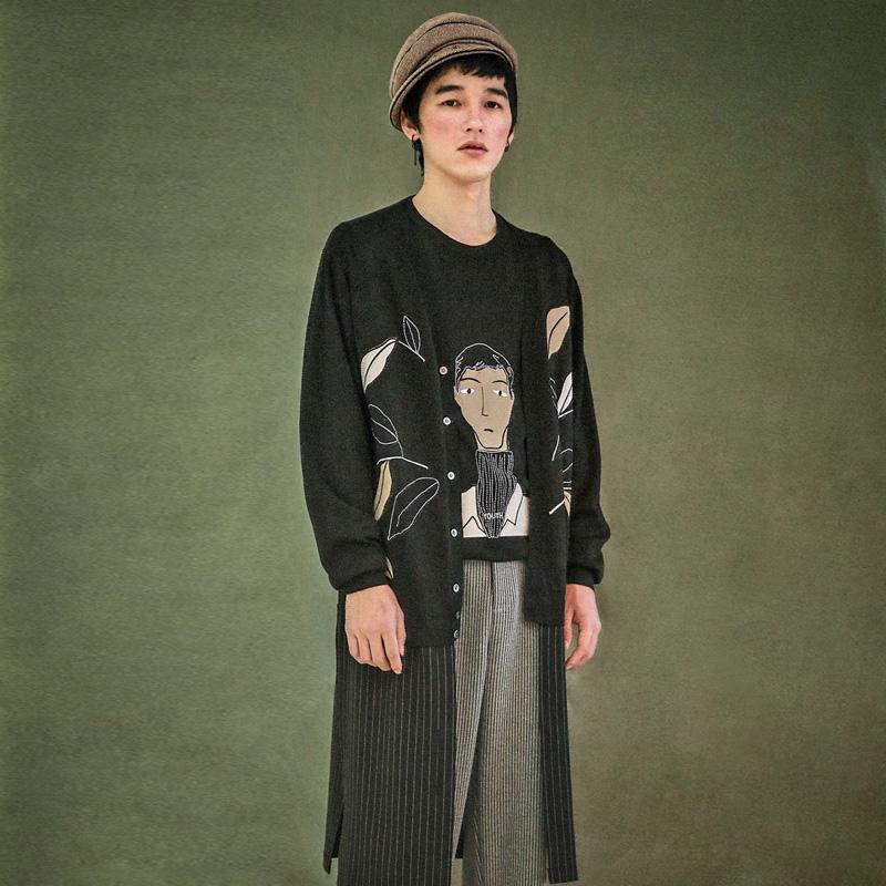 瓦尔特 两件套针织人物刺绣潮流针织衫 山谷少年原创设计男装