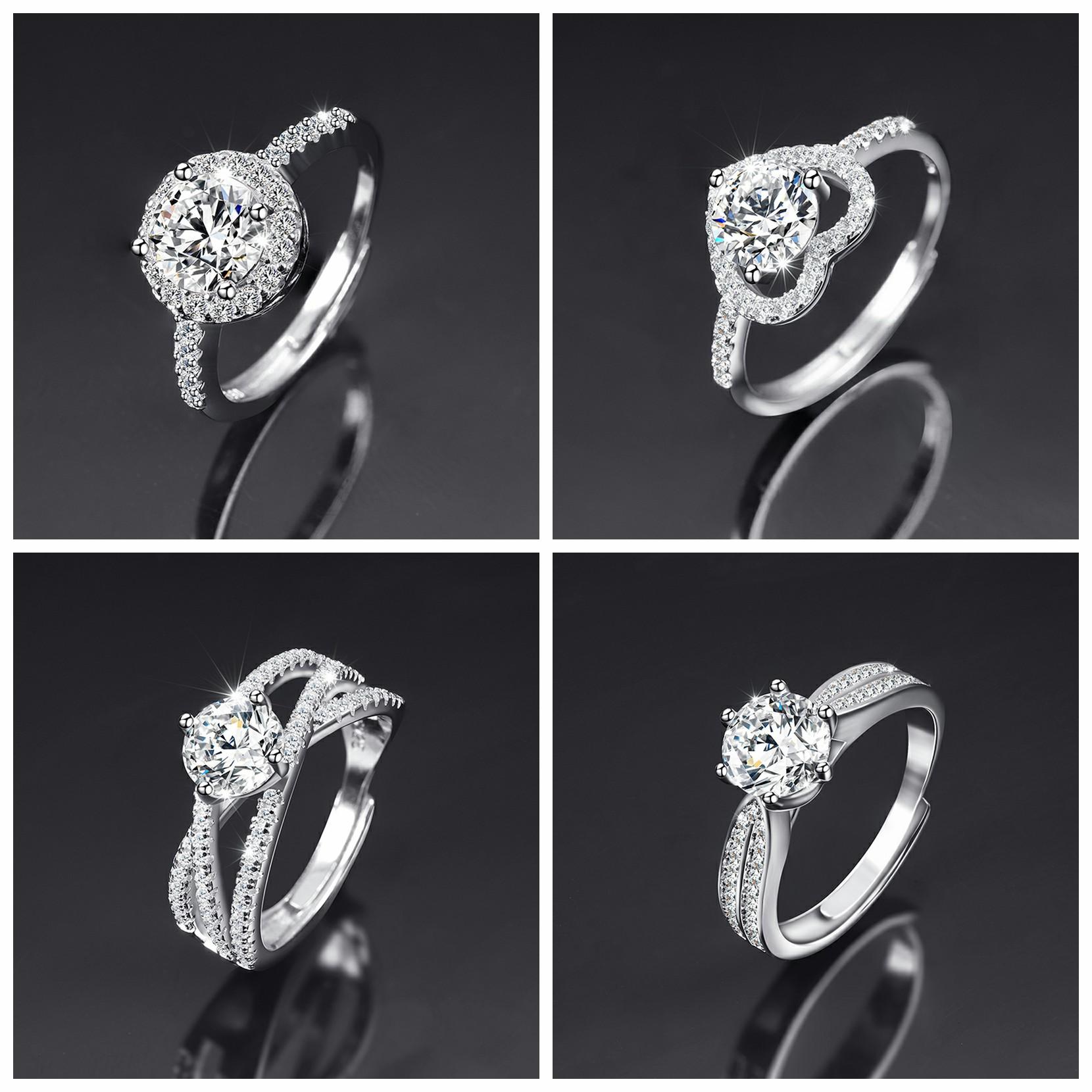 莫桑钻石戒指女高端大气活口对戒925纯银镀18k白金情侣结婚礼物