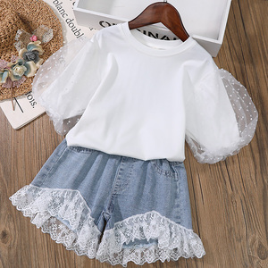 女童短袖2021年夏装新儿童宝超洋气泡泡袖宫廷风上衣花边蕾丝短裤