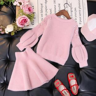 女童秋裝網紅套裝裙2020新款兒童洋氣針織水貂絨秋冬季毛衣時髦潮