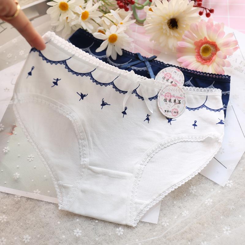 全棉女士內褲 芭蕾舞女純棉內褲女 可愛少女全棉內褲