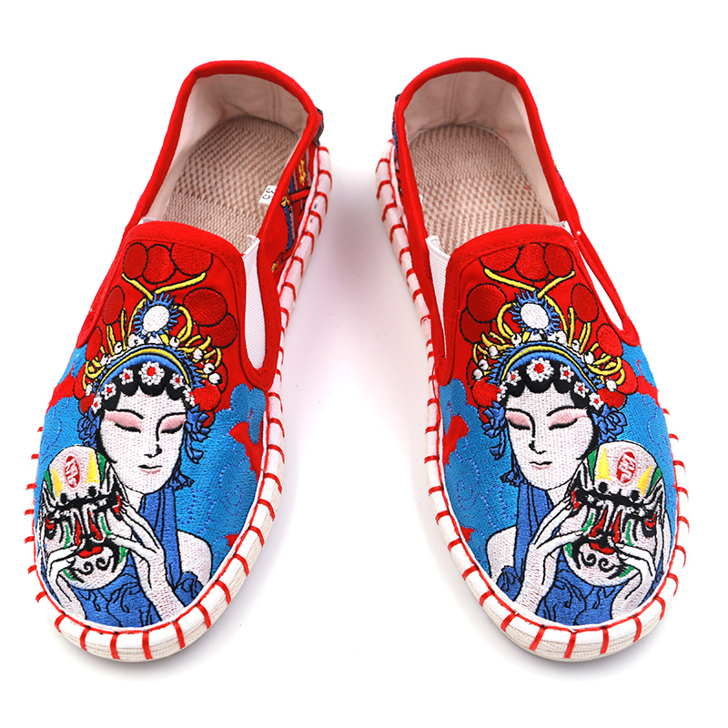 Cloth house old Beijing cloth shoes Jiangnan color ghost cloth art Chinese style embroidery handmade mens shoes versatile, lovers fashion and comfort