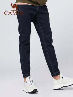 《会员抢购》骆驼男装深蓝牛仔裤修身长裤韩版潮流休闲小脚男裤