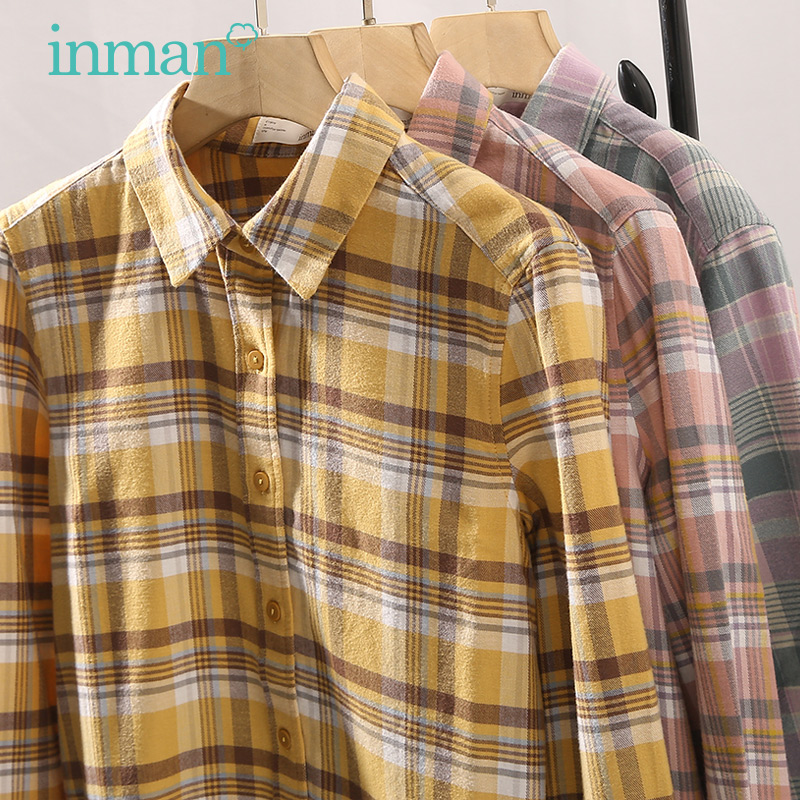 Yinman flagship shop brushed Plaid Shirt women's Retro Hong Kong style top 2020 spring new pure cotton long sleeve shirt