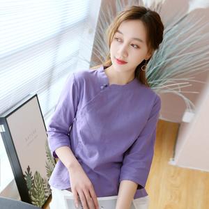 中式上衣女夏民国风复古女装茶艺服装女棉麻唐装禅意中国风衬衫
