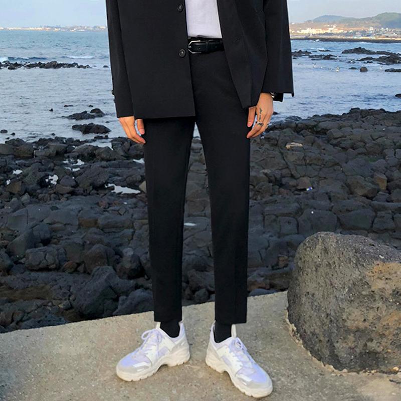 2020秋季新款休闲裤子男士韩版潮流坠感小西裤修身九分黑色西装裤