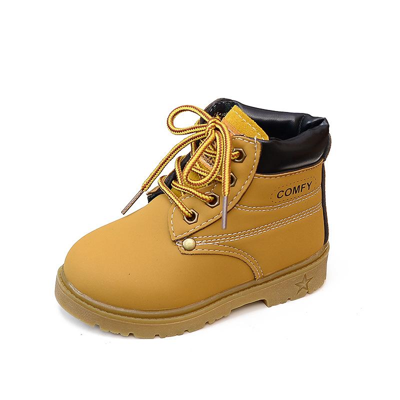 秋 童鞋兒童馬丁靴男童短靴女童係帶靴寶寶靴子皮靴潮棉靴