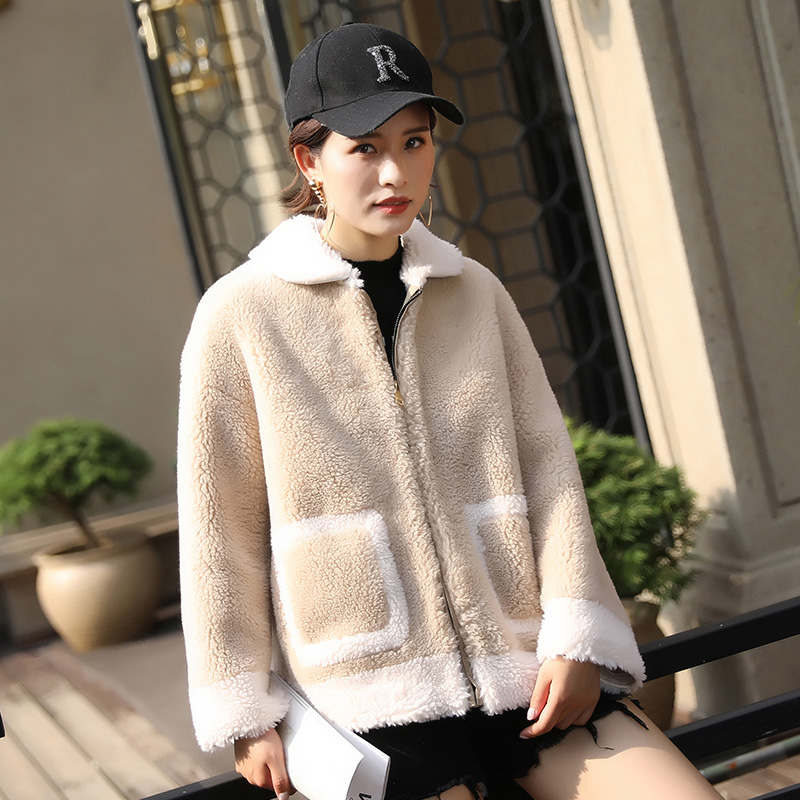 蒂克罗姆2019新款羊剪绒外套女士颗粒绒短款皮毛一体羊羔毛皮草女